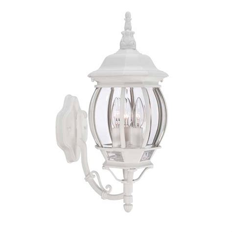 white outdoor wall lantern hton bay 3 light white outdoor wall lantern hb7028 06