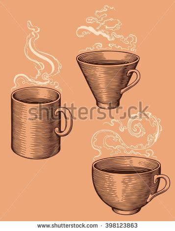isolated brown color cup in retro style background coffee shop woodcut coffee illustration stock vektor 75152080