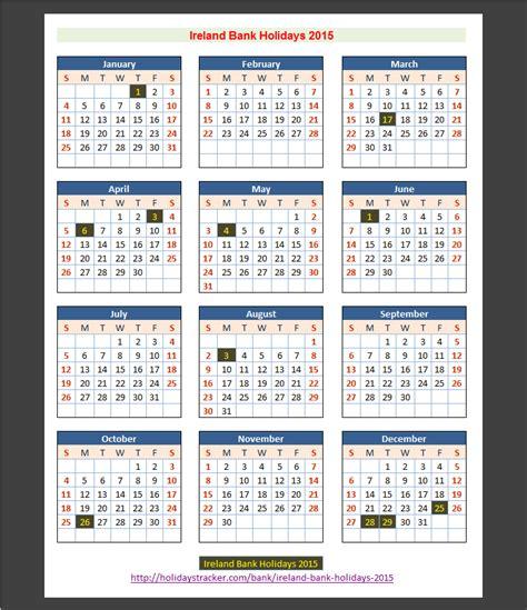 Calendar 2018 Bank Holidays Ireland Ireland Bank Holidays 2015 Holidays Tracker