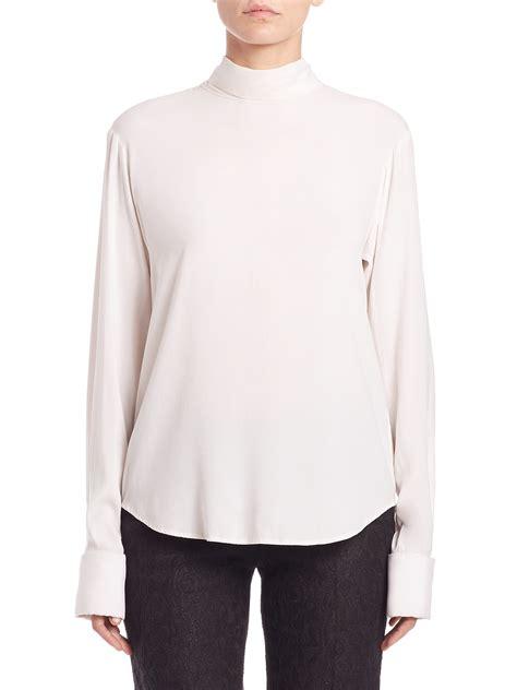 buttoned sweatshirt lyst dkny silk tie neck back button shirt in white