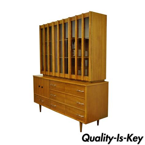 Mid Century Cupboard by Vtg Mid Century Modern Teak Walnut China Cabinet