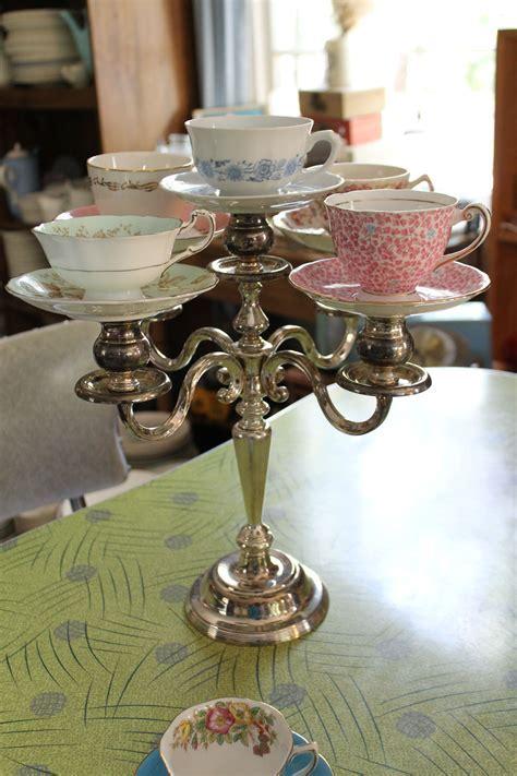 Teacups on candelabra   Southern Vintage Wedding Rental