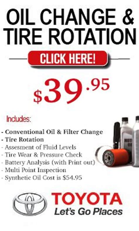 Change At Toyota Dealership Cost Toyota Service Parts Coupons Offers Specials
