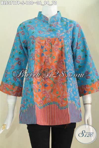 Blus Tenun Kombinasi 2in1 Biru batik blus ukuran kecil desain trendy kombinasi warna biru