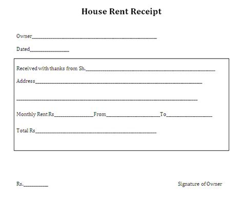 printable house rent receipt template doc vlashed