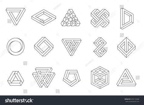 shutterstock design elements and layout vector pack set impossible shapes web design elements stock vector