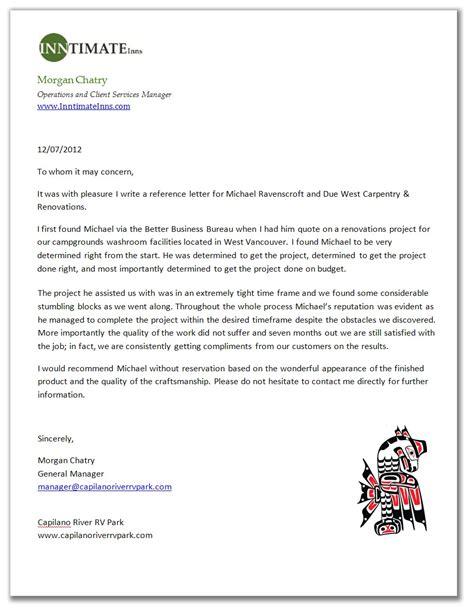 Letter Of Recommendation For Carpenter