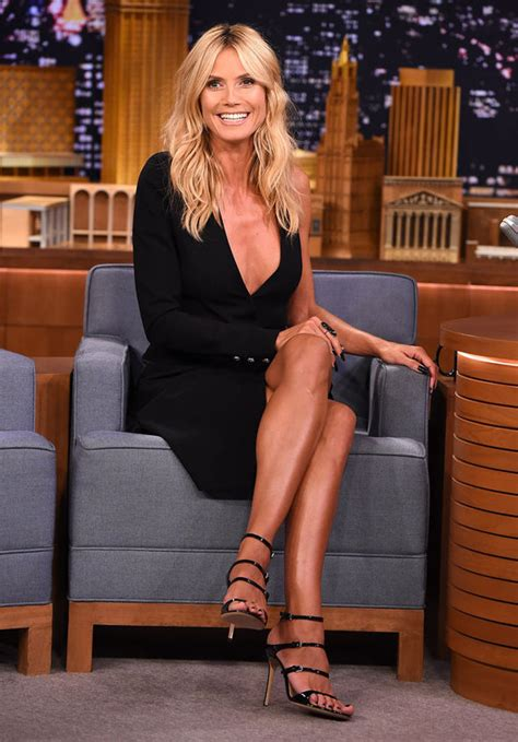 Mam Niple Uk X heidi klum risks a nip slip in plunging thigh slit