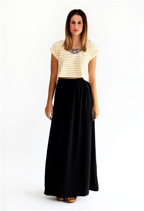 chiffon maxi skirt black 2014 2015 fashion trends 2016 2017