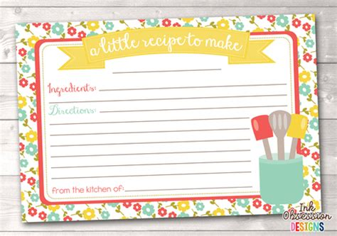 large printable recipe cards floral pink and blue printable recipe cards erin bradley