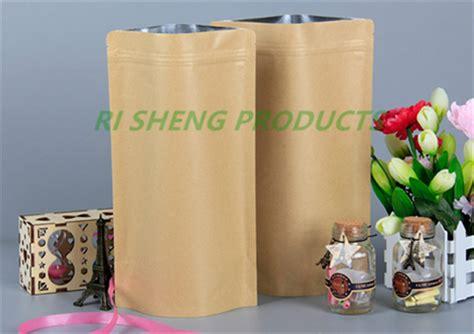 Kemasan Standing Pouch Kraft Paper 20x30cm 20x30cm 100x brown stand up kraft paper aluminium foil ziplock bag reusable paper pouch inner
