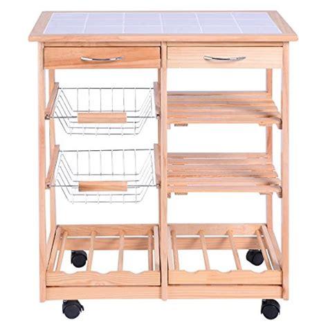 kitchen countertop storage drawers giantex giantex rolling wood kitchen trolley cart dining