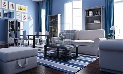 fashion simple blue living room interior design 3d decorating with a nautical theme