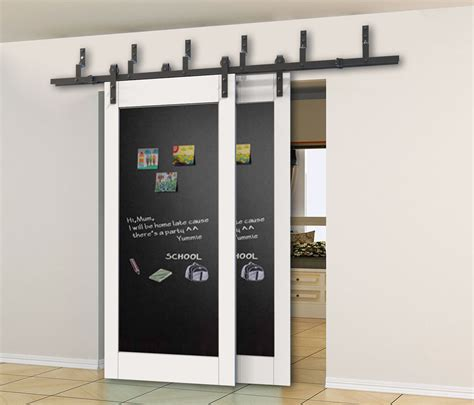 Bypass Sliding Closet Door Hardware 5 6 6 6 8ft Bypass Sliding Barn Wood Closet Door Rustic Black Hardware Ebay
