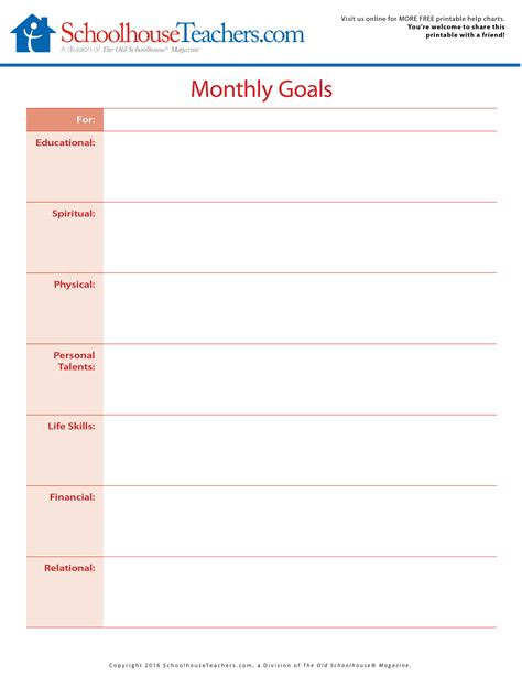 printable planner goals free printable monthly goals and month at a glance planner