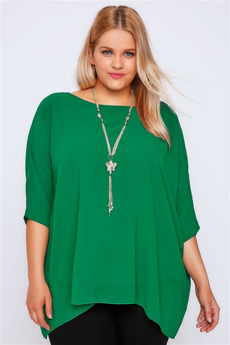 White Batwing Top Size S green batwing sleeve chiffon top with necklace plus size