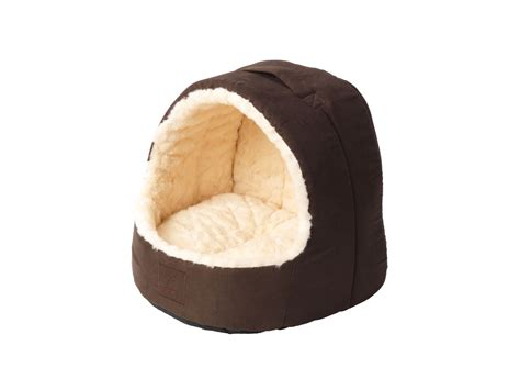 hooded cat bed cream faux fur and suede hooded cat bed by house of paws