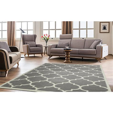 10 ft contemporary rugs ottomanson contemporary moroccan trellis gray 8 ft x 10