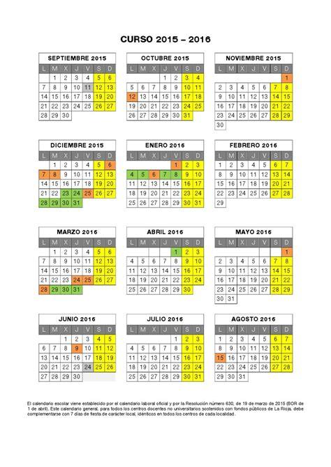 calendario escolar de la rioja 2015 2016 para imprimir calendario escolar bachillerato santa mar 237 a 183 logro 241 o