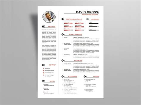 hipster style resume cv template cover letter