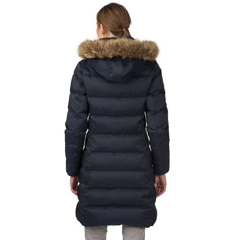 tommy hilfiger puffer jacket fur hood tommy hilfiger faux fur trim hooded puffer coat in blue lyst