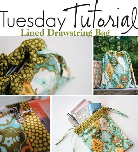 pattern lined drawstring bag easy lined drawstring bag craft ideas pinterest