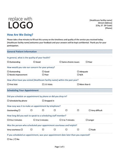 office layout questionnaire medical practice survey form printable medical forms