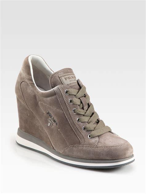 Prada Sneakers Prada Wedges prada suede wedge sneakers in gray brown lyst