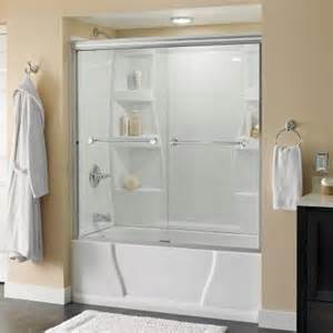 4 ft shower door delta mandara 59 3 8 in x 58 1 8 in sliding bypass tub