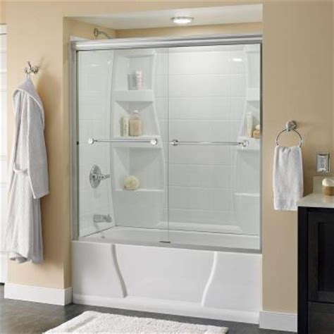 4 Ft Shower Doors Delta Mandara 59 3 8 In X 58 1 8 In Sliding Bypass Tub Shower Door In Polished Chrome With