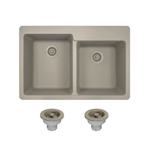 Slate Kitchen Sink Mr Direct All In One Drop In Granite Composite 33 In 4 Offset Bowl Kitchen Sink In