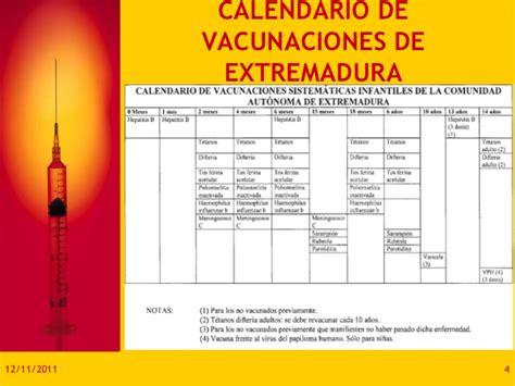 Calendario Vacunal Calendario Vacunal Extremadura
