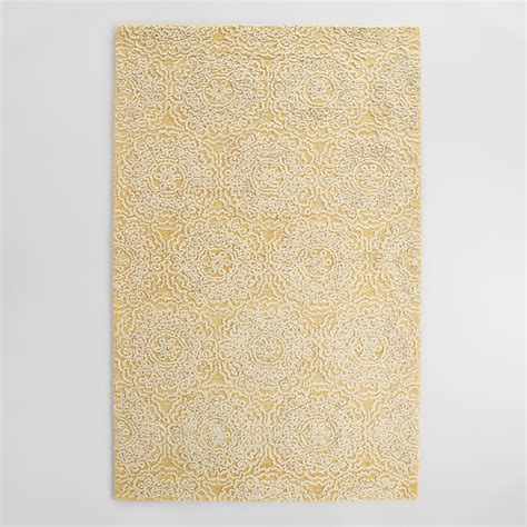 yellow area rugs yellow and ivory floral tufted wool area rug world market