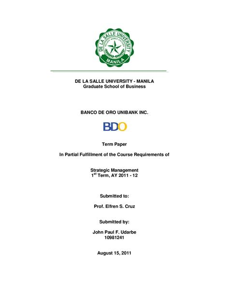De La Salle Mba Requirements by Oce Strama Paper By Paul Udarbe Issuu