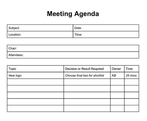 agenda template free best agenda templates