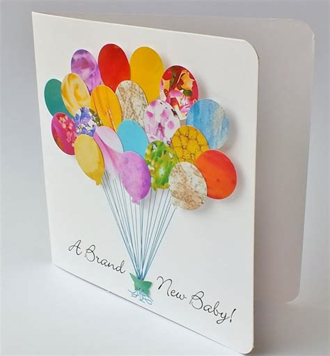 handmade 3d personalised new baby card baby balloons