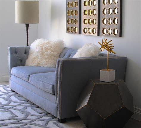 global views arabesque rug gray velvet tufted sofa contemporary living room eastman interiors