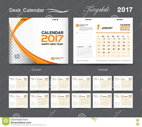 set white and orange desk calendar 2017 template design