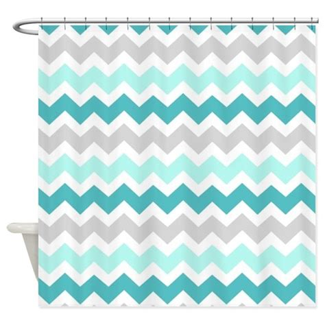 Blue grey chevron pattern shower curtain by dreamingmindcards