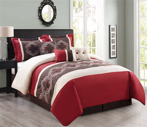 maroon comforter sets 7 piece burgundy black white comforter set
