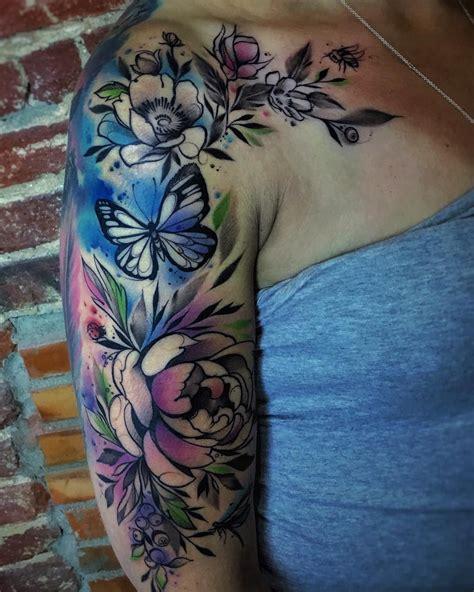 watercolor tattoo sleeves watercolor half sleeve tattoos on tattoos
