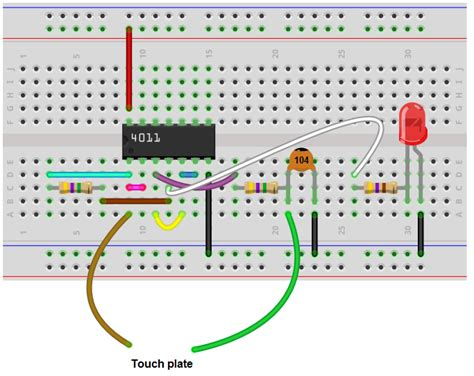 how to build a touch on circuit with a 4011 nand gate chip