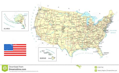 water country usa map usa detailed map illustration stock photo image