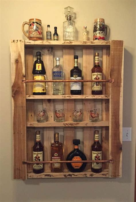 rustic pallet wood wall shelf liquor cabinet liquor bottle