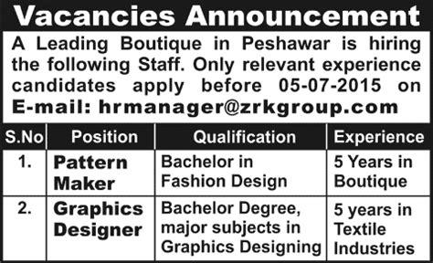 pattern maker vacancy pattern maker graphic designer jobs in peshawar 2015