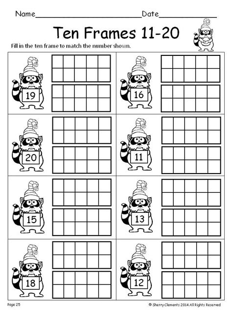 Ten Frame Worksheet by Ten Frames 11 20 Winter Fill In The Ten Frames