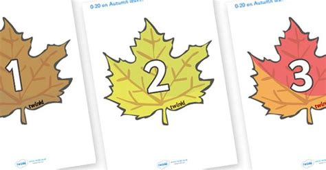printable leaves with numbers twinkl resources gt gt numbers 0 20 on autumn leaves