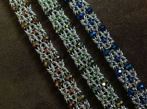 beaded chainmaille jewelry patterns artisan chain maille beaded bracelet