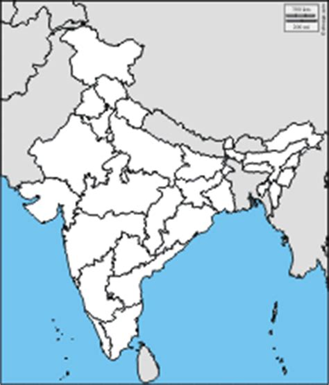 India Physical Map Outline In A4 Size by Blank Political Map Of India With Neighbouring Countries