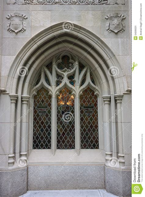 museum of the city of new york gothic revival house fake gothic window in new york city editorial photo